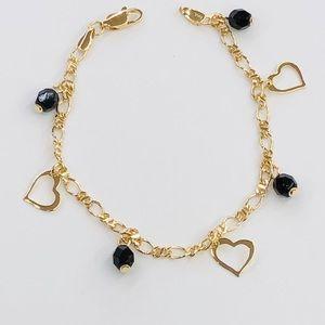 "Jewelry - Gold Filled Heart charm Bracelet 7.5"" inch"